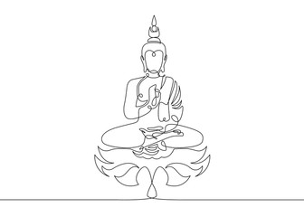 One continuous line drawn Buddha