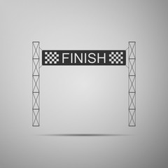 Ribbon in finishing line icon isolated on grey background. Symbol of finish line. Sport symbol or business concept. Flat design. Vector Illustration
