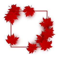 Canada day background design of red maple leaves isolated on white background with line frame vector illustration