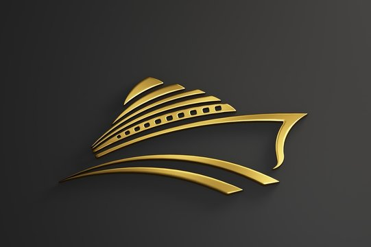Cruise Ship Tour Gold Logo. 3D Render Illustration