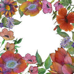 Watercolor background with flowers frame