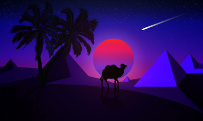 Night landscape of a palm tree and a camel on a background of desert pyramids