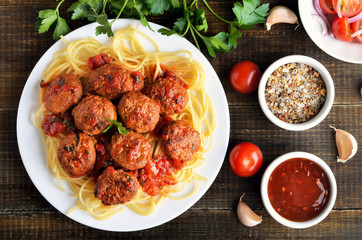 Meatballs and spaghetti on plate
