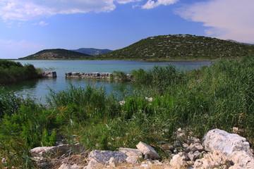 Landscape at Lake Vransko near Pirovac in Croatia