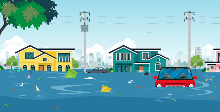 City floods and cars with garbage floating in the water.
