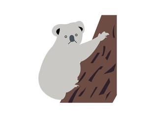 Goofy koala climbing a tree cartoon illustration