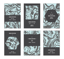 Beautiful marbling cards. Gorgeous blue abstract backgrounds.