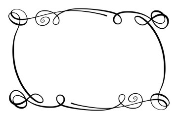 Flourish Vector Frame. Rectangle with squiggles, twirls and embellishments for image and text elements. Hand drawn black highlighting curlicue border isolated on the white background. Doodle effect