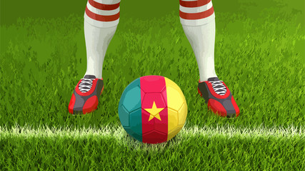 Man and soccer ball  with Cameroon flag