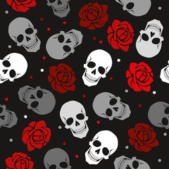 The unadorned pattern of the skull and roses