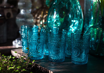 Glass cups and vases in the sun