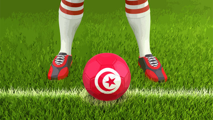 Man and soccer ball  with Tunisian flag