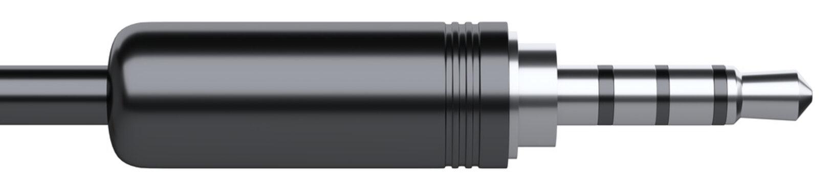 Black 3.5 mm audio stereo mini jack plug for headphones.