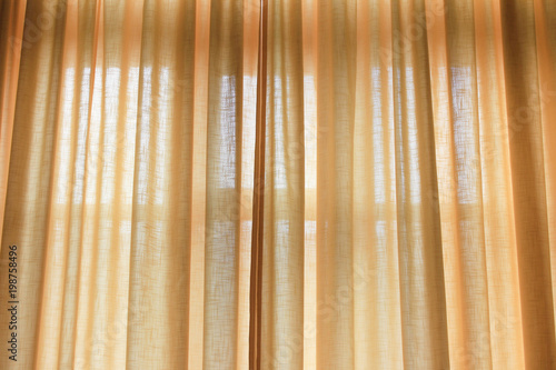 Curtains Drawn Of Light Soft Yellow Pastel Color Elegant Curtain Cloth On Bedroom Or Living