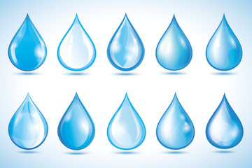 Set of different water drops isolated