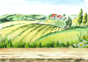 Old farm and fields in countryside with empty table as background. Watercolor hand drawn illustration
