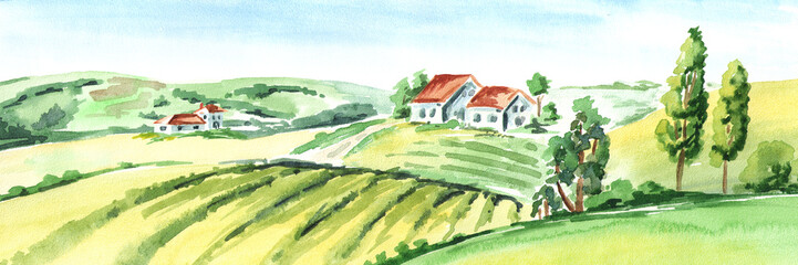 Deurstickers Zwavel geel Old farm and fields in countryside. Watercolor hand drawn horizontal illustration