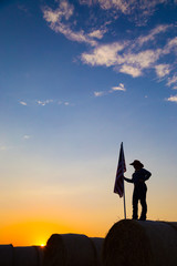 American 4H Farm girl with Flag at Sunset