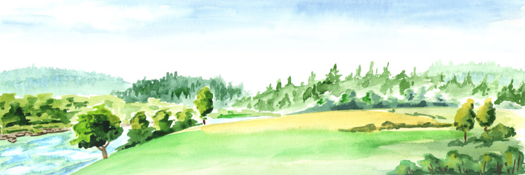 Rural landscape with river. Watercolor hand drawn horizontal illustration