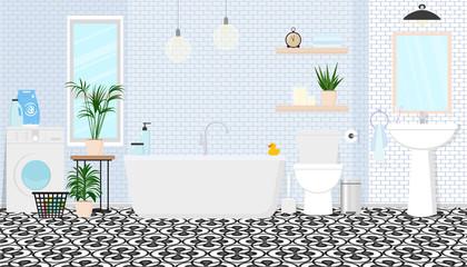 Modern interior design of the bathroom. Vector illustration.