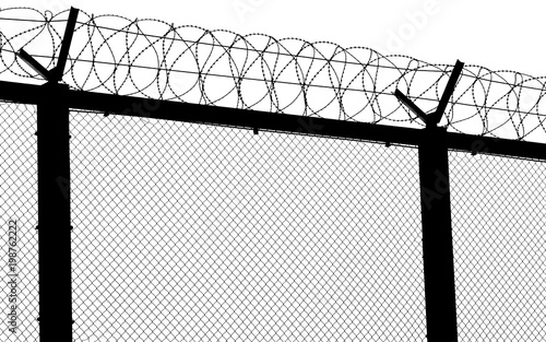 Silhouette of barbed wire fence at the border. Isolated on white ...