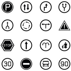 road sign icon set