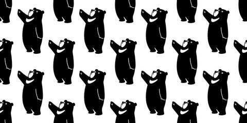 Bear seamless pattern vector polar bear panda isolated teddy background wallpaper