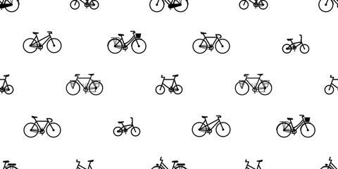 bicycle Seamless Pattern vector cycling isolated vintage wallpaper background illustration graphic white