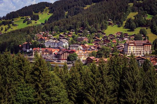 View on mountain village Wengen in summer. Switzerland