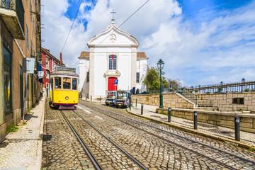 Wall Mural - View of Santa Luzia Church and vintage tram in Lisbon, Portugal