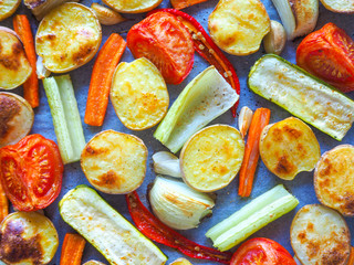 Baked vegetables on parchment