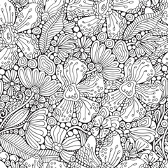 Seamless pattern. Coloring book page with different little flowers and leaf in zentangle style. Black and white vector illustration. Doodle, hand drawn, zen art, anti stress.