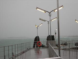 Wenecja, widok na lagunę podczas burzy, niepogoda