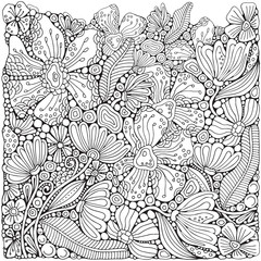 Coloring book page with different little flowers and leaf in zentangle style. Black and white vector illustration. Doodle, hand drawn, zen art, anti stress.