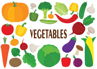 Vector vegetables icons set. Collection farm product for restaurant menu, market label.
