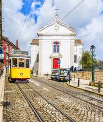 Wall Mural - Santa Luzia Church and vintage tram in Lisbon, Portugal