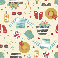 Seamless pattern of summer beach clothes and accessories such as hat, bag with flowers, sunglasses and sunblock. Hand drawn artistic illustration.