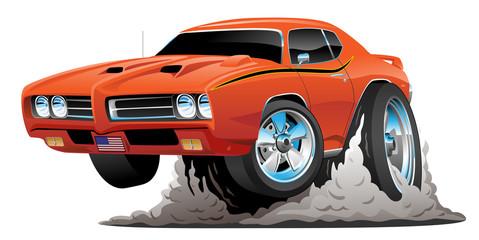 Classic American Muscle Car Hot Rod Cartoon Vector Illustration