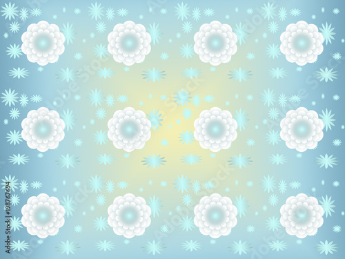Weiße Blumen, Hintergrund blau \