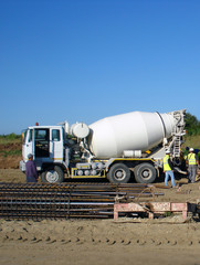 Concrete truck working