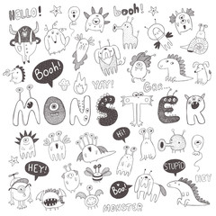 Set of vector monsters and words