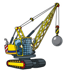Funny wrecking ball truck with eyes