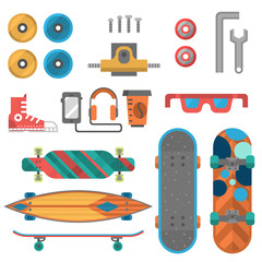 Skateboard fingerboard icon vector sport equipment skating transportation decorative speed freestyle leisure.