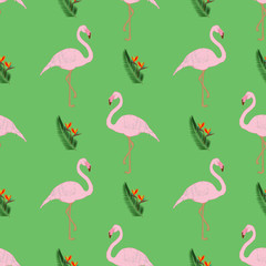 Seamless pattern. Tropical sheets, exotic African birds and flowers, vector illustration