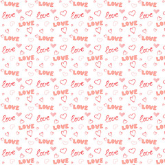 Seamless handwriting pattern with love hearts shapes
