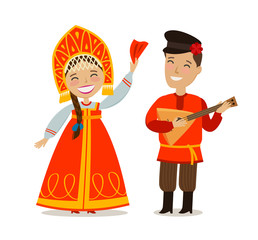 Russian people in folk national costume. Russia, Moscow concept. Vector illustration in flat style