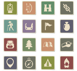 day of scouts icon set