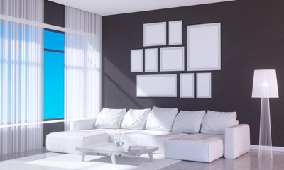 Modern bright interior with empty frame . 3D rendering 3D illustration room,  scandinavian,  sofa,  space,  up,  wall,  white