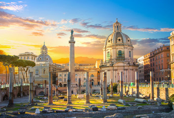 Rome, Italy.  Trajan's Forum with ruins of important ancient government buildings