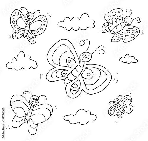 Ausmalbild Schmetterlinge Stockfotos Und Lizenzfreie Bilder Auf